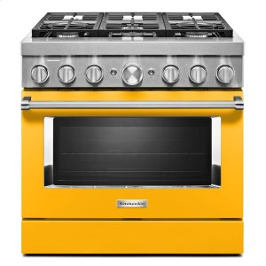 KitchenAidKitchenAid® 36'' Smart Commercial-Style Dual Fuel Range with 6 Burners - Yellow Pepper