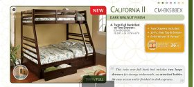 California II Twin/Full Bunk Bed with 2 Underbed Drawers