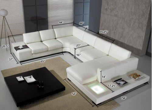 Divani Casa T35 - Modern Leather Sectional Sofa with Light