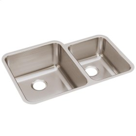"Elkay Lustertone Classic Stainless Steel 30-3/4"" x 21"" x 9-7/8"", Offset 60/40 Double Bowl Undermount Sink"