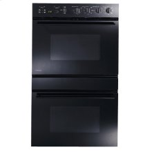 "GE Monogram® 30"" European-Design Black Double Convection Wall Oven"