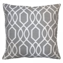 Frances Contemporary Decorative Feather and Down Throw Pillow In Gray Jacquard Fabric