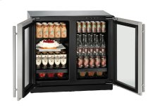 "Modular 3000 Series 36"" Glass Door Refrigerator With Stainless Frame Finish and Double Doors Door Swing"