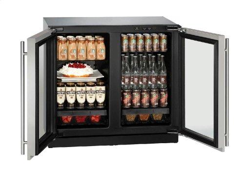 "Modular 3000 Series 36"" Glass Door Refrigerator With Stainless Frame Finish and Double Doors Door Swing"