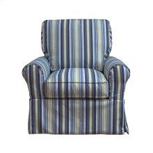 Sunset Trading Horizon Slipcovered Box Cushion Swivel Rocking Chair  Beach Striped  Color: 395245