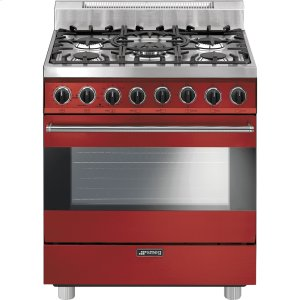 "SmegFree-Standing Gas Range, 30"", Red"