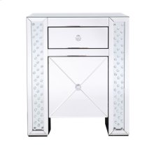 21.5 in clear crystal mirrored one drawer cabinet