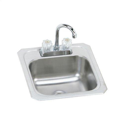 "Elkay Celebrity Stainless Steel 15"" x 15"" x 6-1/8"", Single Bowl Drop-in Bar Sink + Faucet Kit"