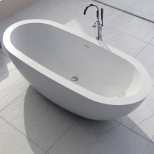 """Free-standing soaking bathtub made of white solid surface with an overflow andndrain, net weight 364 lbs, water capacity 73 Gal.W: 70 7/8"""" D: 31 1/2"""" H: 23 5/8"""""""