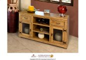"57"" TV Stand w/2 drawers, 2 glass doors"