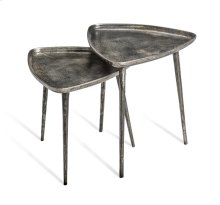 Lucia Triangular Side Tables - Nickel