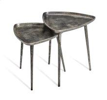 Lucia Triangular Side Tables - Nickel