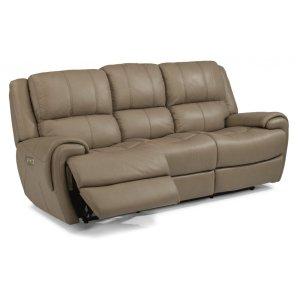 FLEXSTEELNance Leather Power Reclining Sofa with Power Headrests