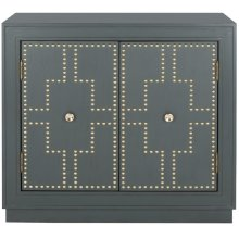 Azuli 2 Door Chest - Steel Teal / Gold / Mirror