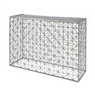 Silver Leaf Crosshatch Console Table With Inset Mirror Top. Product Image