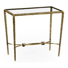 Hammered Light Brown Brass Rectangular Side Table