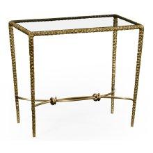 Hammered Light Brown Brass Rectangular Side Table