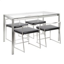 Fuji Dinette Set - Brushed Stainless Steel, Clear Glass, Black Pu
