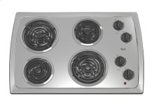 "Black-on-Stainless Whirlpool® 30"" Electric Coil Cooktop"