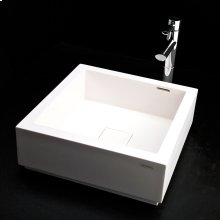 "Vessel Bathroom Sink made of solid surface, with an overflow and decorative drain cover, finished back. Pedestal is sold separately. 16""W x 16""D x 33 1/4""H."