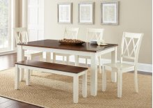 "Aida Two Tone Bench, Brown/Vanilla, 52""x15""x19"""