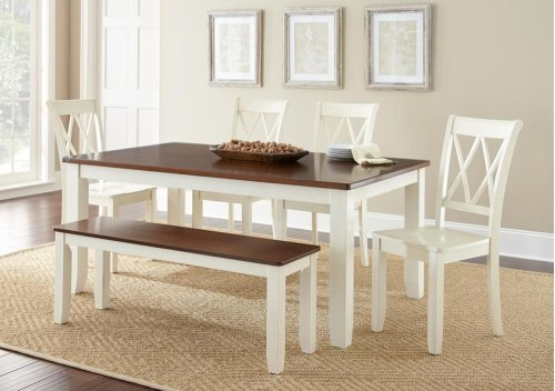 "Aida Two Tone Table, Brown/Vanilla, 70""x42""x30"""