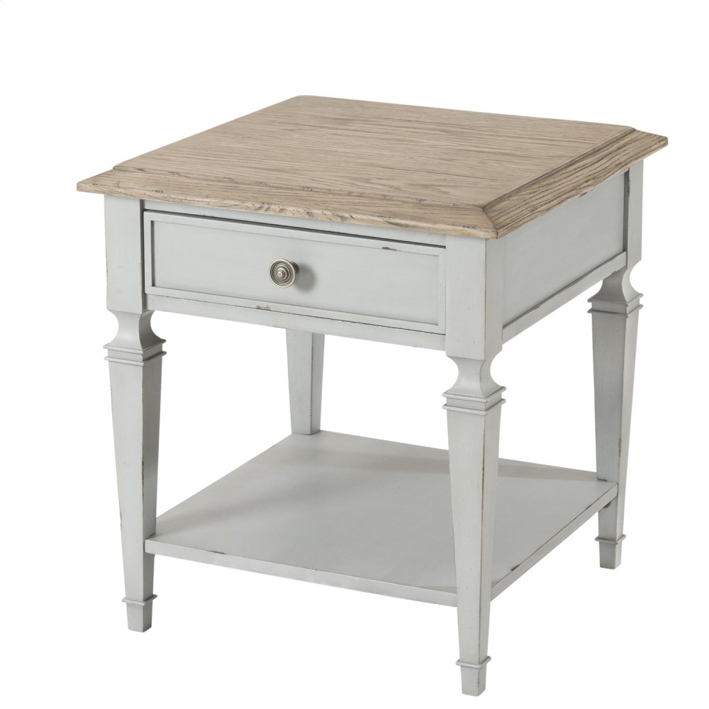 Square Side Table   Antique Oak/chipped Gray Finish