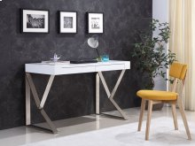The York High Gloss White Lacquer Office Desk