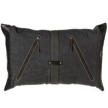 Antique Grey Canvas Lumbar Pillow with Diagonal Zippers and Faux Leather Accents