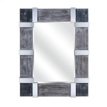 Abha Wood and Metal Framed Mirror with Metal Accents