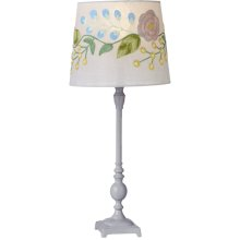 Grey Accent Lamp with Embroidered Shade. 40W Max.