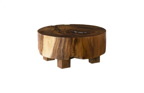 Chamcha Wood Thick Freeform Coffee Table, Round