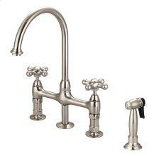 Harding Kitchen Bridge Faucet with Sidespray and Metal Cross Handles - Brushed Nickel
