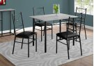 DINING SET - 5PCS SET / GREY / BLACK METAL Product Image