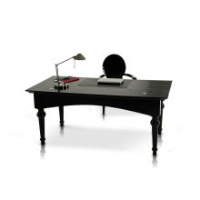 A&X Ambassador - Transitional Black Crocodile Lacquer Office Desk