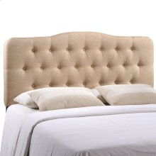 Annabel Queen Upholstered Fabric Headboard in Beige