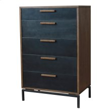 Bellevue Chest 5 Drawers Graphite Metal Legs , Graphite/Natural Mango