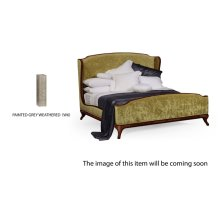 Cali King Louis XV Grey Weathered Bed, Upholstered in Lime Velvet