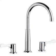 "Elkay 8"" Centerset Concealed Deck Mount Faucet with Gooseneck Spout and 4"" Lever Handles + Stop Chrome"