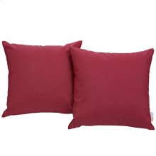 Convene Two Piece Outdoor Patio Pillow Set in Red