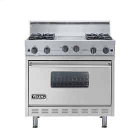 "Metallic Silver 36"" Open Burner Range - VGIC (36"" wide, four burners 12"" wide griddle/simmer plate)"