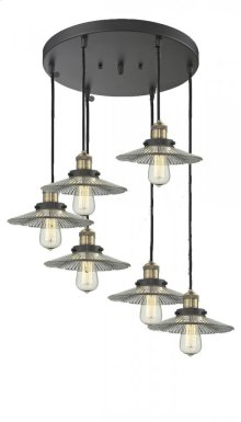 212/6-AC - BARE BULB 6 LIGHT PAN CHANDELIER