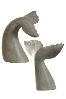 Set of 2 gray whale tail book ends finished in melville