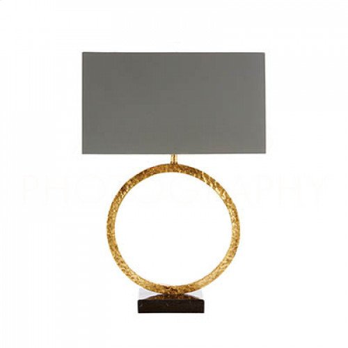 Geo Hammered Circle Lamp in Antique Gold