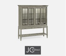 Rustic Grey Glazed Display Double Cabinet
