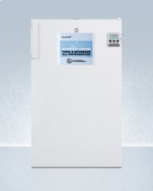 Commercially Approved Nutrition Center Series All-refrigerator In White for Freestanding Use, With Front Lock and Digital Temperature Display
