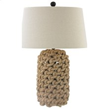 Goose Cove Table Lamp In Woven Rope and Natural Linen Hardback Shade