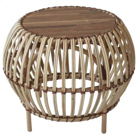 Jory Rattan End Table Wood Top, Natural
