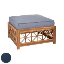 Teak Lattice Square Ottoman in Euro Teak Oil with Single Outdoor Navy Cushion