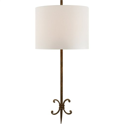 Visual Comfort SK2009NR-L Suzanne Kasler Roswell 2 Light 11 inch Natural Rusted Iron Decorative Wall Light in Linen